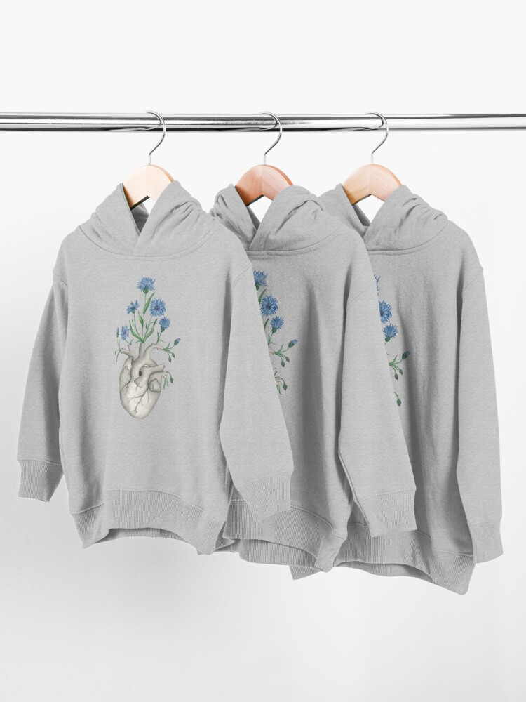 Alternate view of Floral Heart: Human Anatomy Cornflower Flower Halloween Gift Toddler Pullover Hoodie