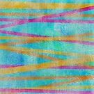 Batik Stripes Orange and Magenta by SandAndChi