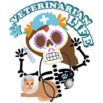 Vet Tech Veterinarian Funny Life Skeleton Halloween  by macshoptee
