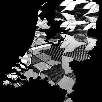 Escher Day and Night Netherlands - Black Background (Famous Dutch Painting) by From-Now-On