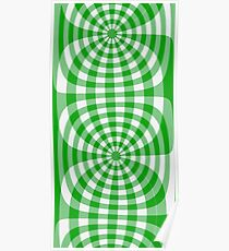 Gingham lime green seventies effect Poster