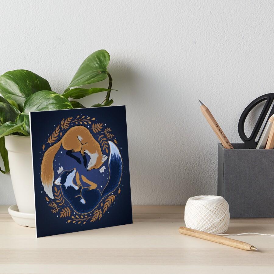 Night foxes Art Board Print