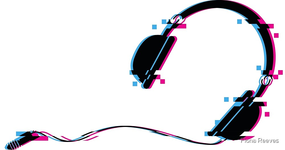 Music Headphones Glitch Art by Fiona Reeves