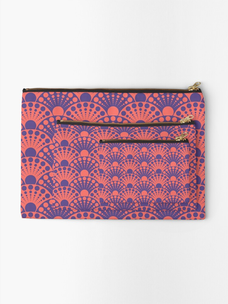 Alternate view of living coral and ultra violet art deco inspired fan pattern Zipper Pouch