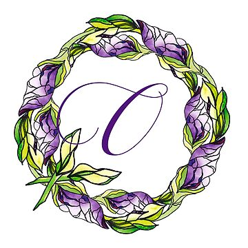 iris floral Letter O - uppercase Alphabet, Monogram, Initial  by ArtOlB
