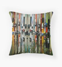 Ski Fence Throw Pillow
