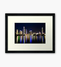 Surfers by Night Framed Print