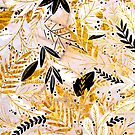 Windy - luxury botanical foliage pattern in gold and nude tones on marble stone by cadinera