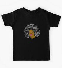 Black History Month Leistungsstarke Sänger Natural Hair Afro Art Kinder T-Shirt