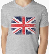 Vintage UK British Flag design Men's V-Neck T-Shirt