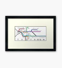 Long Island Railroad Route Karte Gerahmter Kunstdruck