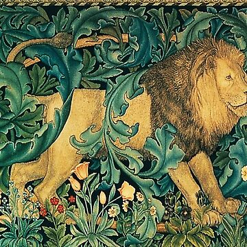 GREENERY ,FOREST ANIMALS, LION Antique Tapestry by BulganLumini