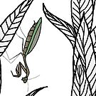 Chinese Praying Mantis And Leaves Pattern by Inspiredme