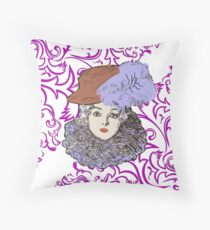 20s woman retro design with hat, feather and frill Floor Pillow