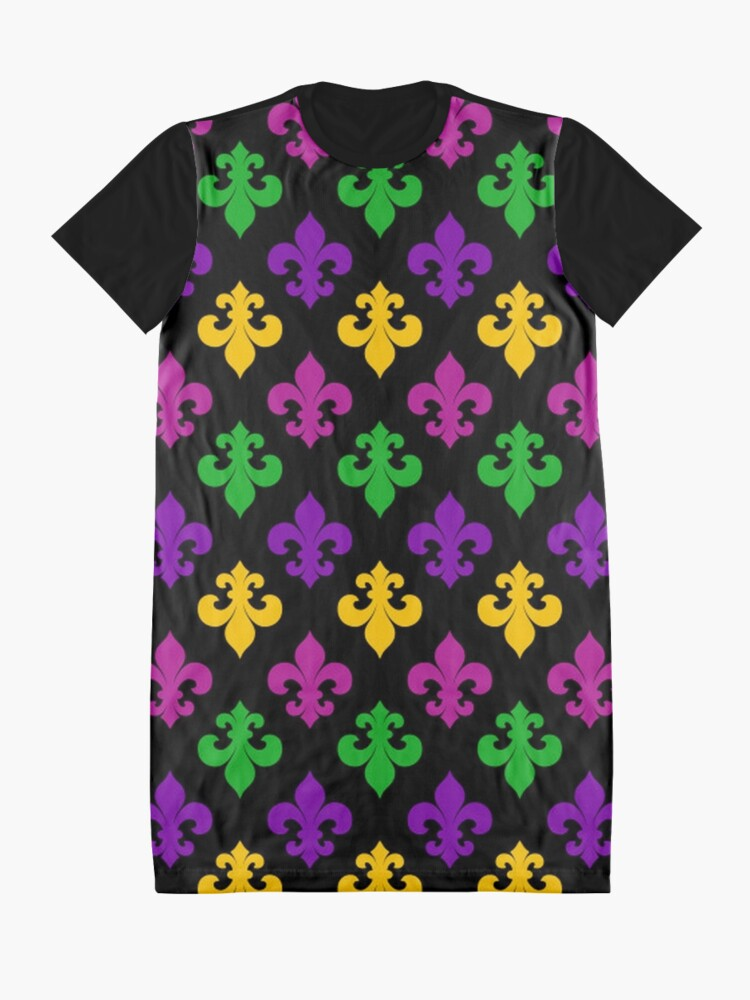 Alternate view of Mardi Gras Fleur de Lis Graphic T-Shirt Dress