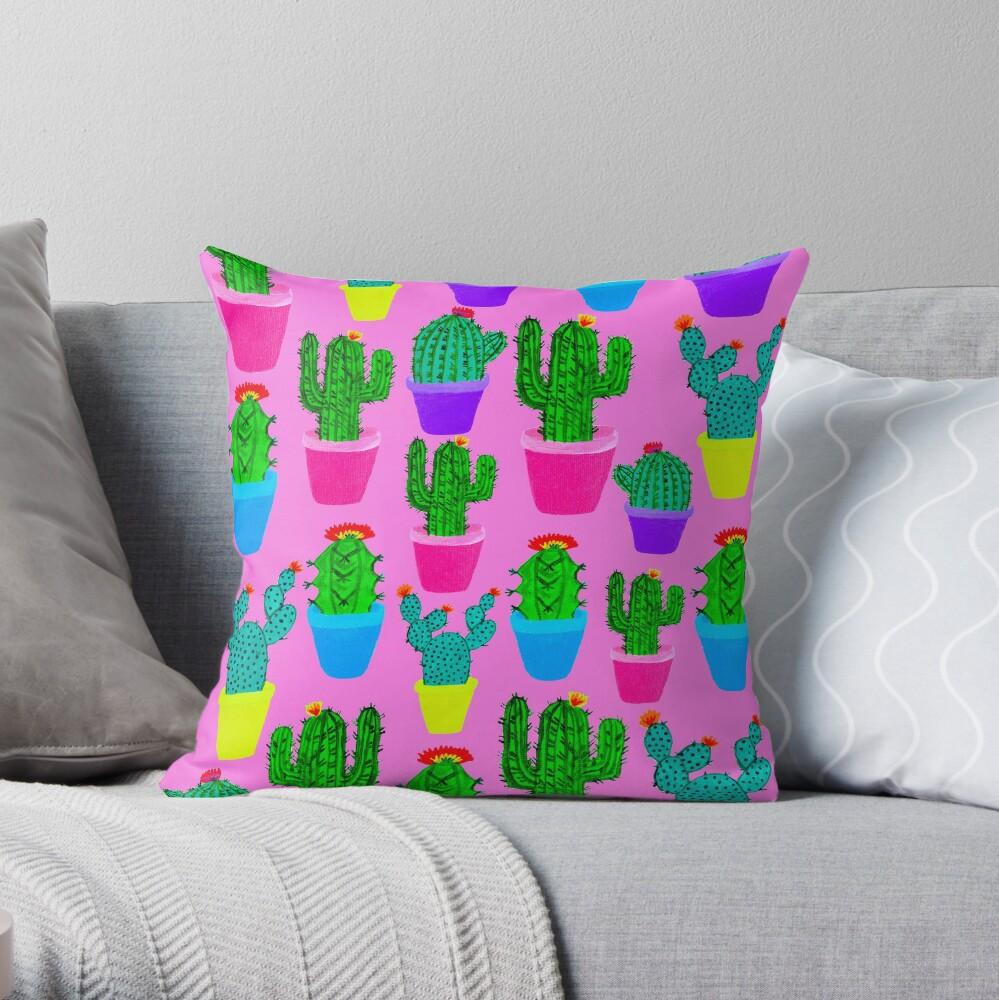 Bubblegum Cacti Throw Pillow