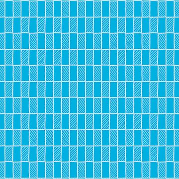Doodle rectangular grid seamless vector pattern with diagonal lines by limengd