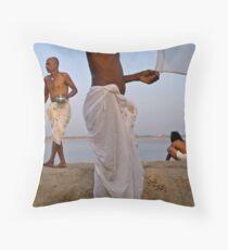 Pilgrims. Varanasi Throw Pillow