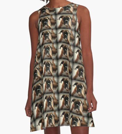 Gesicht der Unschuld ~ Boxer-Hundeserie A-Linien Kleid