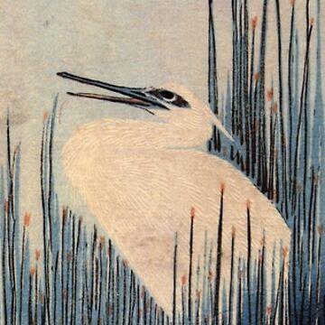 Egret by Utagawa Hiroshige (Reproduction) by RozAbellera