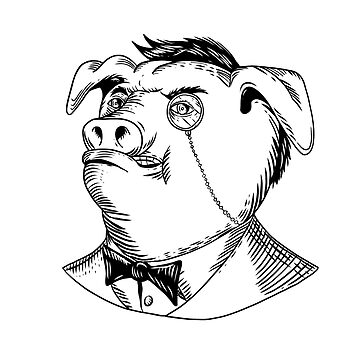 Aristocratic Pig Monocle Black and White Drawing by patrimonio