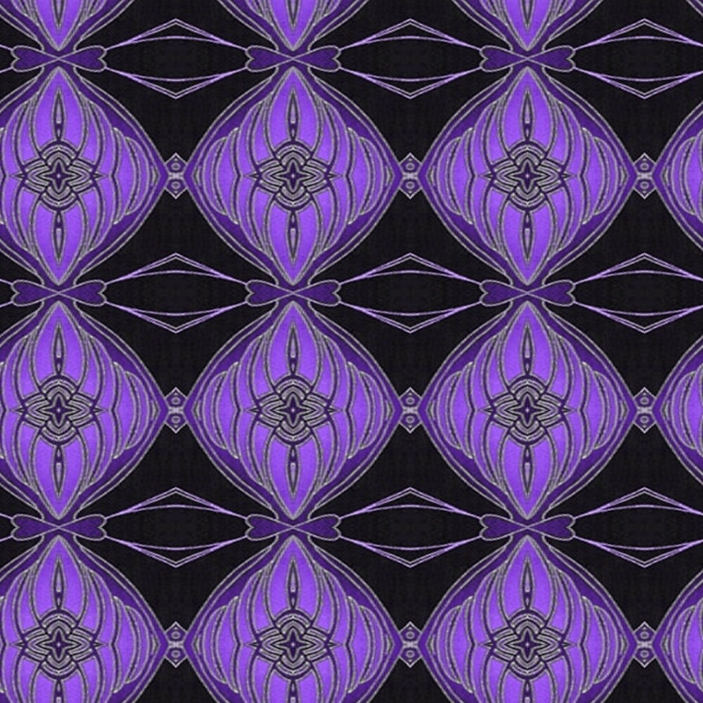 Purple and Black Abstract Diamond Floral Pattern by HavenDesign