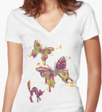 The Butterfly Chaser Women's Fitted V-Neck T-Shirt
