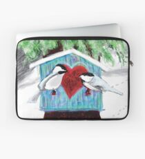 Chickadees Love in Winter Laptop Sleeve