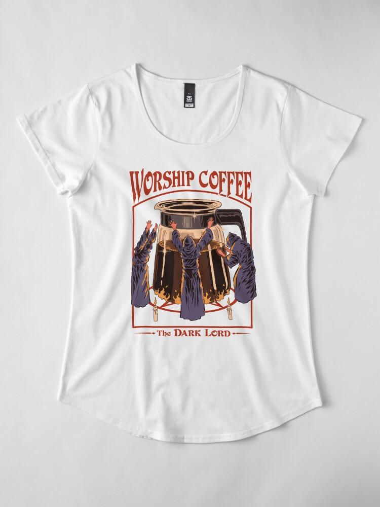 Alternate view of Worship Coffee Premium Scoop T-Shirt