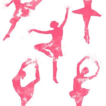 Beautiful Dancing Ballerinas Pink Silhauettes by andreirose