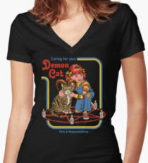 ee4d6feb Caring For Your Demon Cat Fitted V-Neck T-Shirt