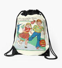 Let's Run Away Drawstring Bag