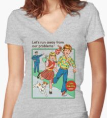 Let's Run Away Women's Fitted V-Neck T-Shirt