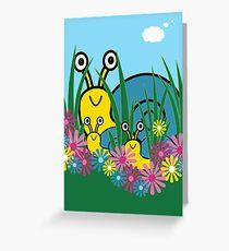 Peek-A-Boo Snails Card Greeting Card