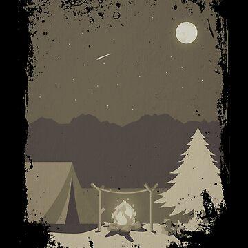Camping Trip in the Woods Campfire and Tent Full Moon by KanigMarketplac