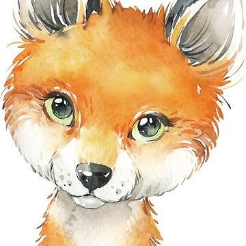 Cute Fox Baby Watercolor Illustration by junkydotcom