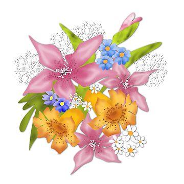 Spring flowers bouquet on white background by fuzzyfox