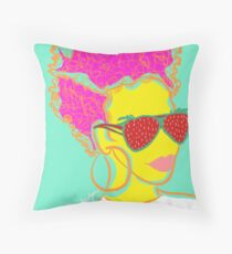 Fresh Fruit- Strawberry Lady Pop Art Throw Pillow