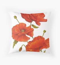 Poppies on White Throw Pillow