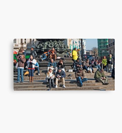 Looking at the People: Piccadily Circus People Details Canvas Print