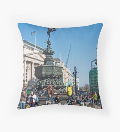 The Statue of Eros: Piccadily Circus, London, UK. Throw Pillow