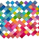 Watercolour Rainbow Checquered Squares by Pip Gerard