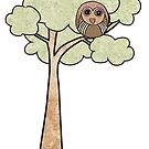 Fabric Patchwork Owl in Tree by Pip Gerard
