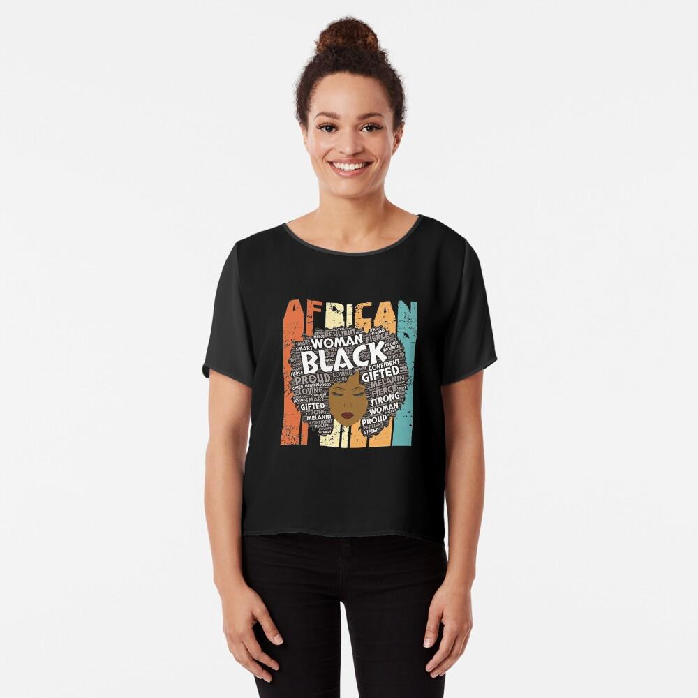 Retro Afro-Wort Art Hair Black Geschichtsfrauen-T-Shirt Typografie-Afroamerikaner-Geschenk Chiffon Top