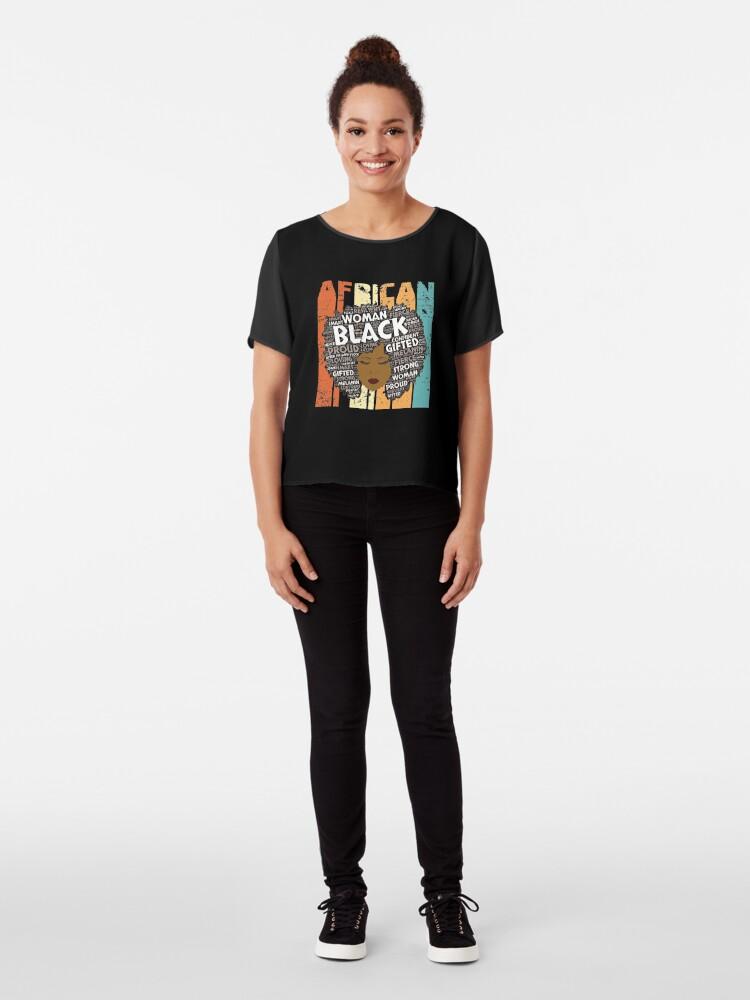 Alternative Ansicht von Retro Afro-Wort Art Hair Black Geschichtsfrauen-T-Shirt Typografie-Afroamerikaner-Geschenk Chiffon Top