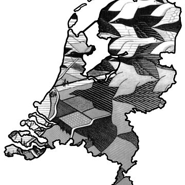 Escher Day and Night Netherlands - White Background (Famous Dutch Painting) by From-Now-On
