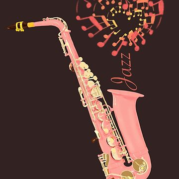 Love jazz - pink saxophone  by MimieTrouvetou
