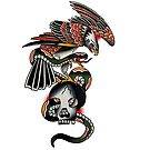 Traditional Eagle, Snake & Skull Tattoo Design by FOREVER TRUE TATTOO