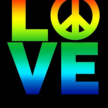 Love and Peace Symbol Bright Rainbow Colors by LarkDesigns
