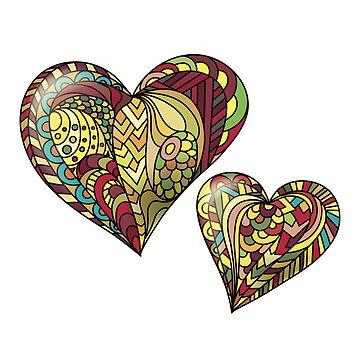 Zentangle color mandala heart by alijun